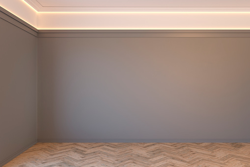 Empty Gray Interior With Blank Wall Mouldings Ceiling Backlit And Wooden  Chevron Parquet Floor 3d Render Illustration Mock Up Stock Photo - Download