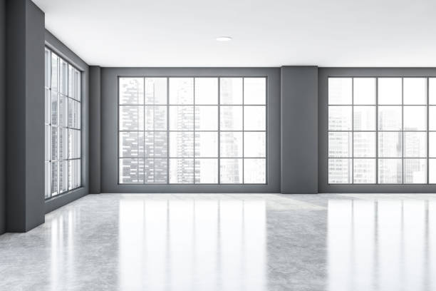 Empty gray office room interior with windows