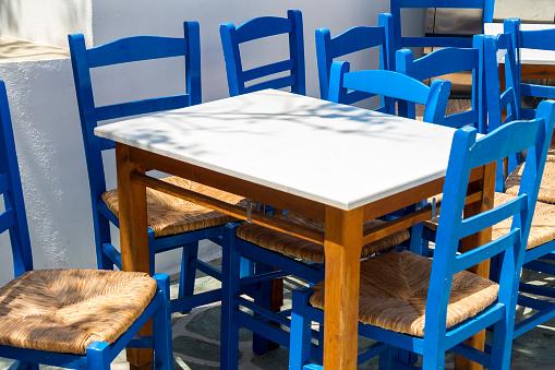 Empty Greek terrace