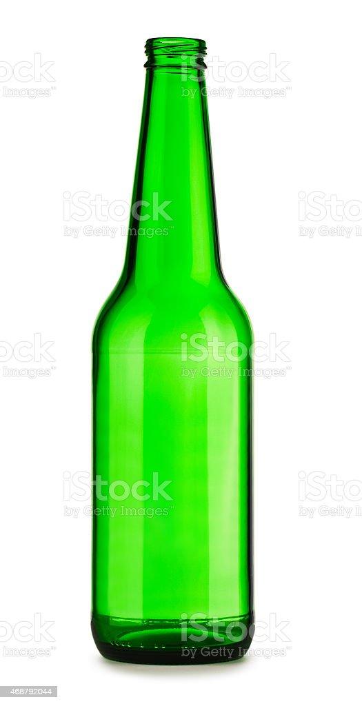 empty green bottle of beer stock photo