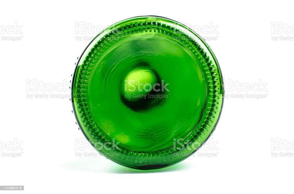 Empty green bottle on white background bottom stock photo