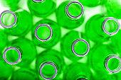 Close up , Empty green bottles background , full frame