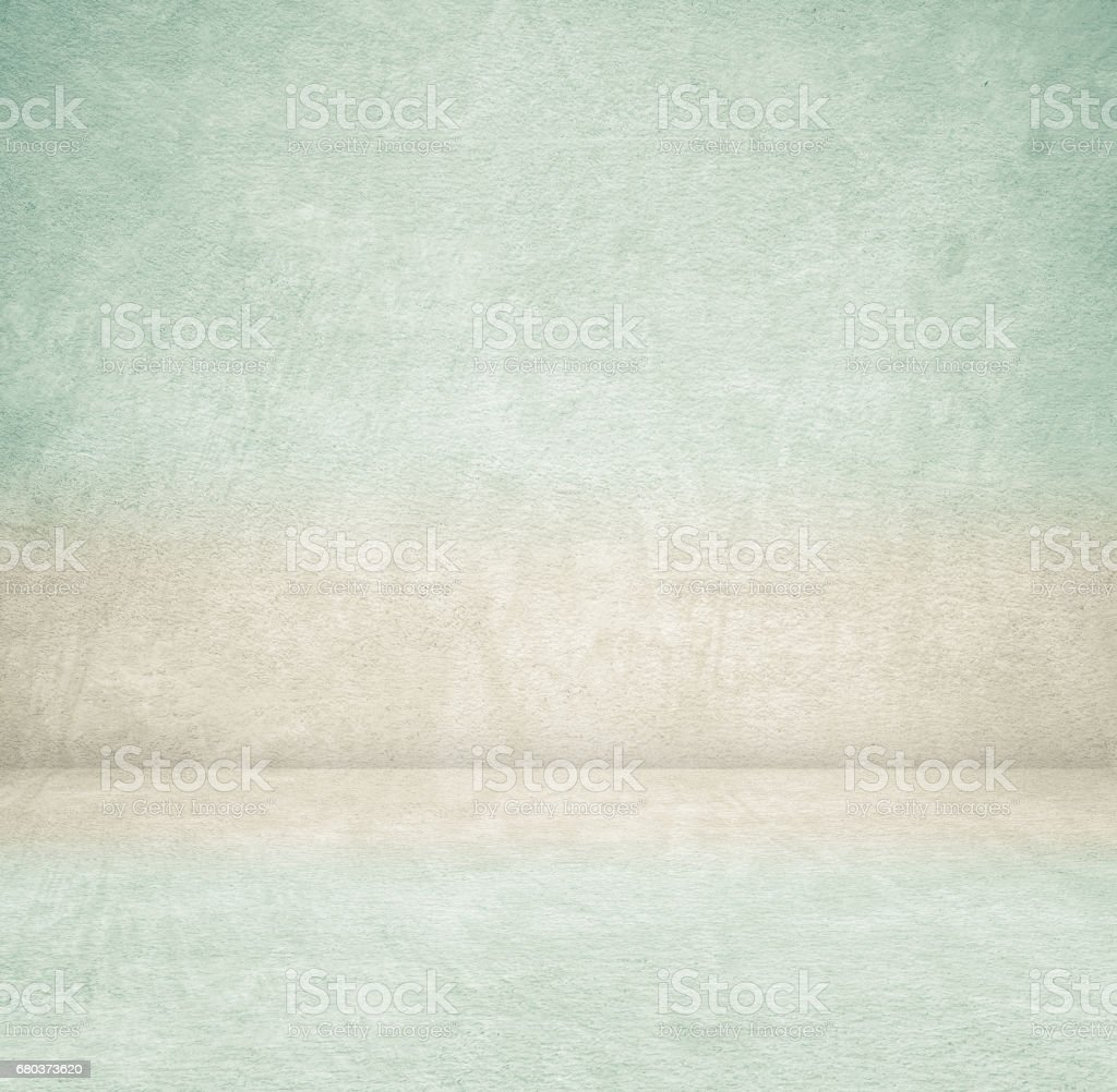 Empty green cement room in perspective view, grunge background, vintage style, interior design, product display montage royalty-free stock photo