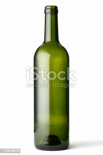 Empty green glass bottle on white background.Clipping path included.