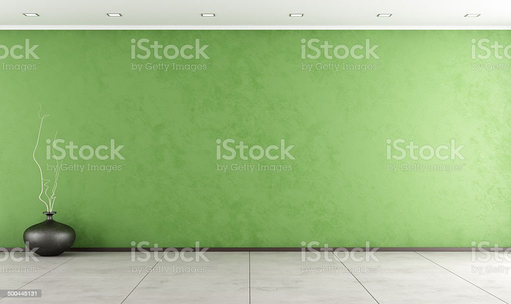 Empty green room stock photo