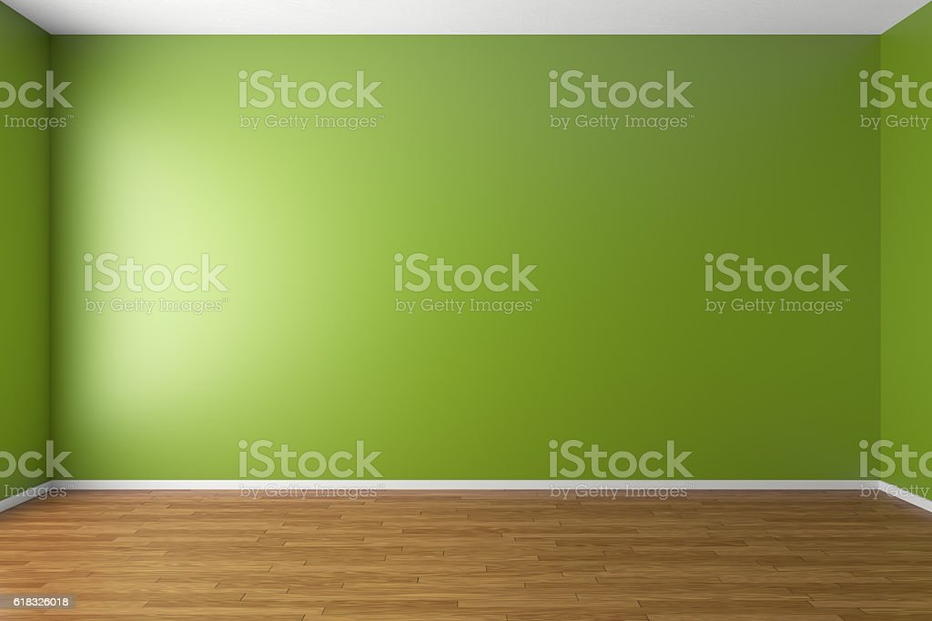Empty green room with parquet floor stock photo