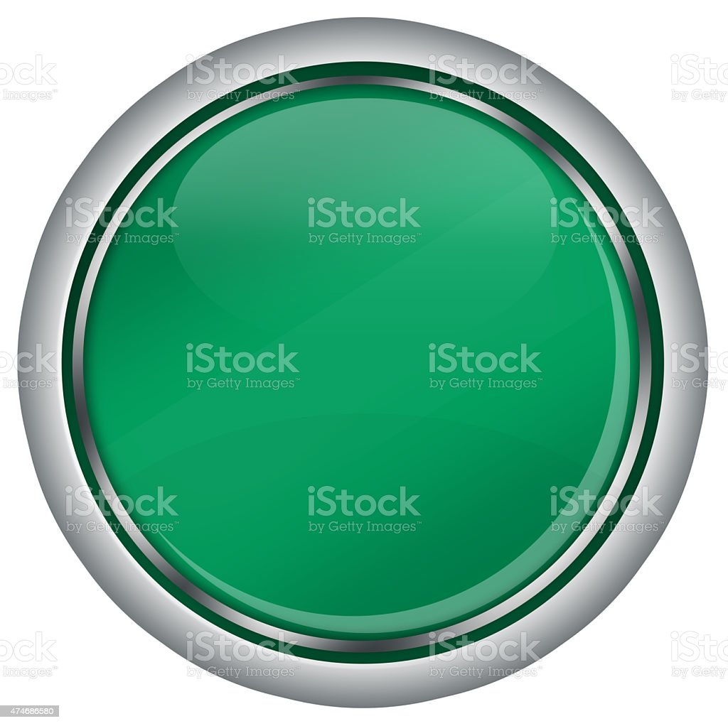 empty green round web button with glass design, white background, stock photo