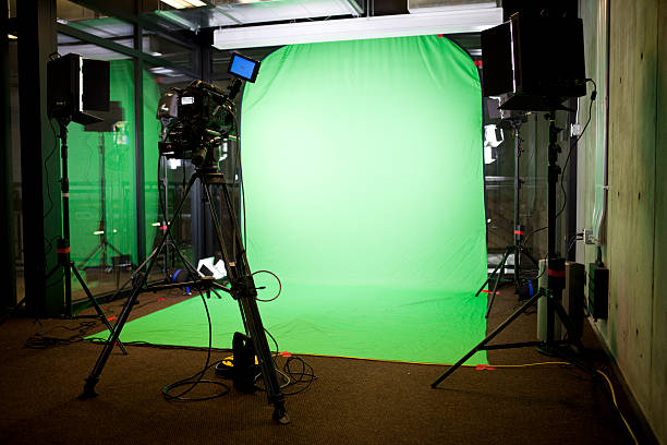 empty green screen film set - green screen background stock photos and pictures
