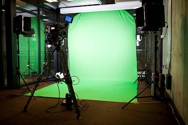 Empty Green Screen Film Set stock photo