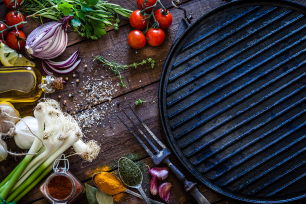 empty griddle and ingredients for cooking - meat texture imagens e fotografias de stock