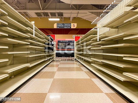 The aisles of a local grocery store chain sits empty after the store announced it was liquidating all remaining stock and closing down.