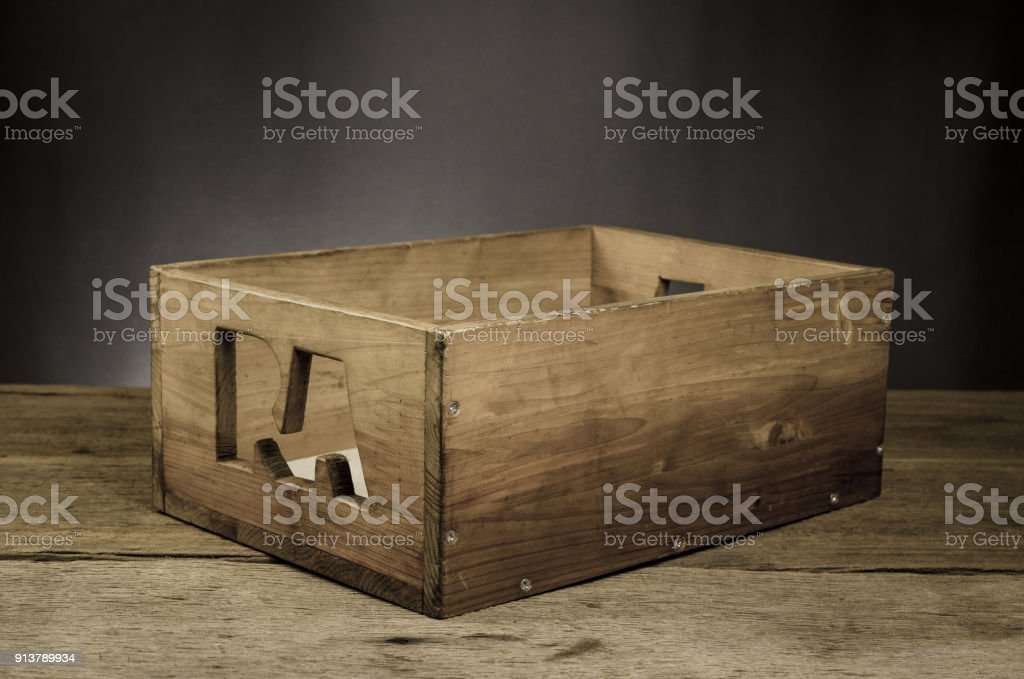 empty old wooden box on wooden table,empty tool box