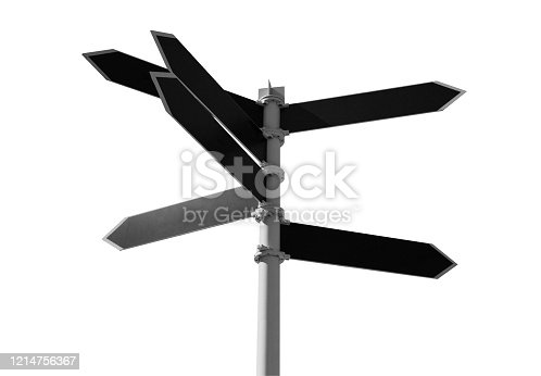 Empty guidepost with black arrow shaped labels isolated on white background