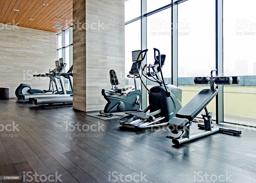 Empty gym room stock photo