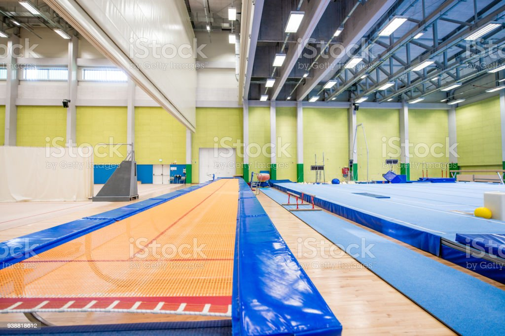 Empty Gym with Long Trampoline and Running Track.