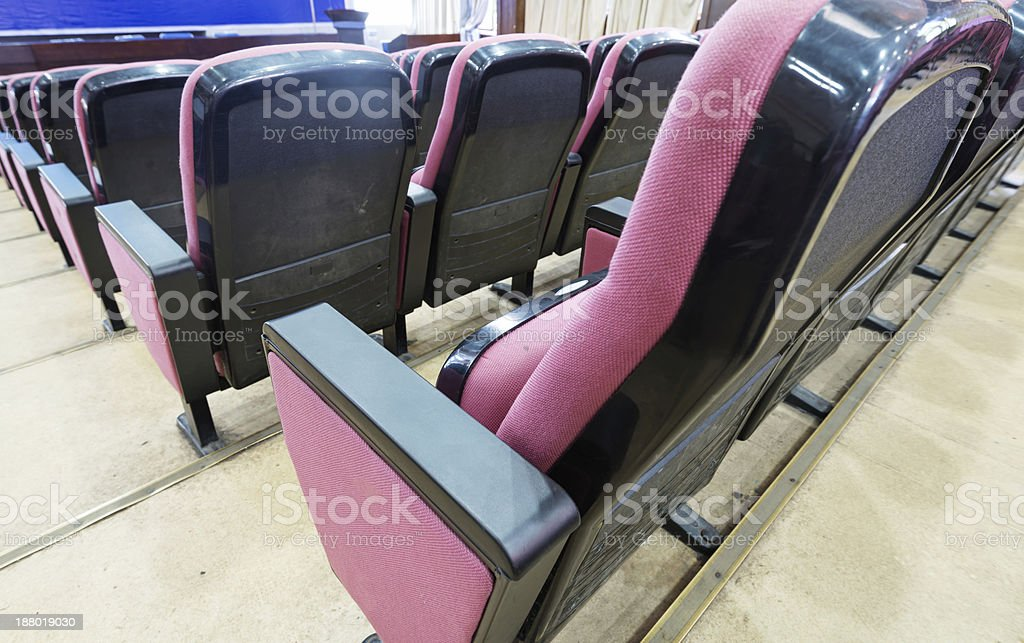 Empty hall for presentation with armchairs stock photo