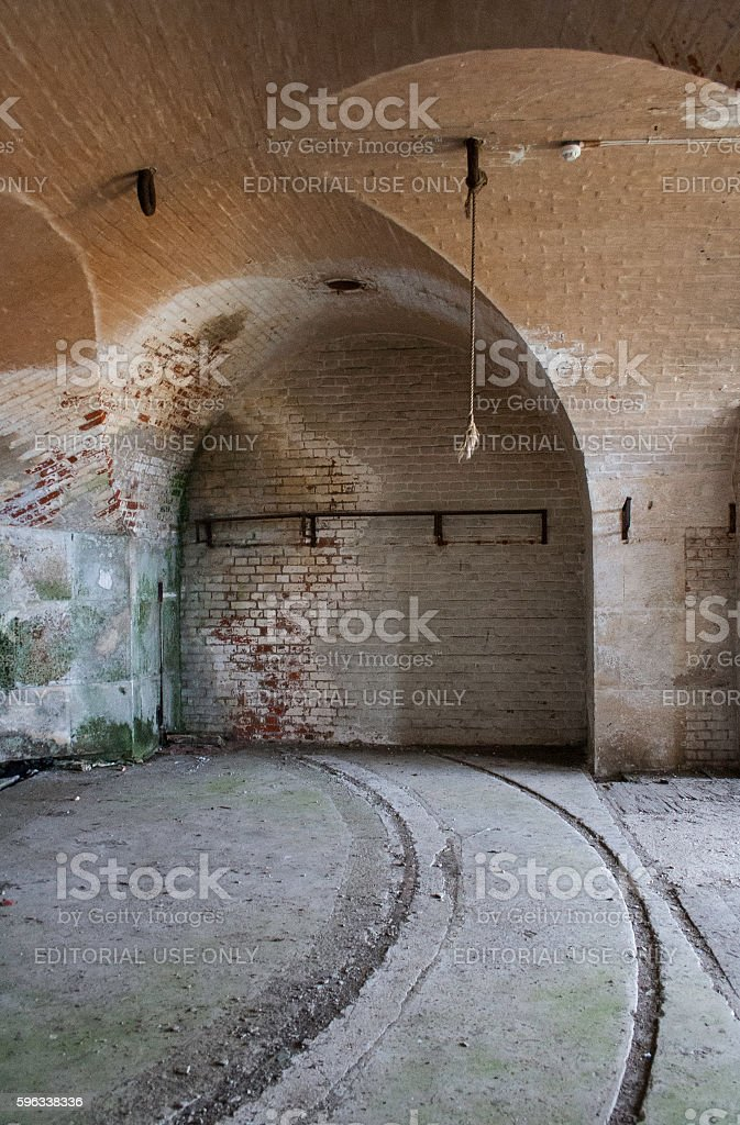 Empty hall in abadoned military base stock photo