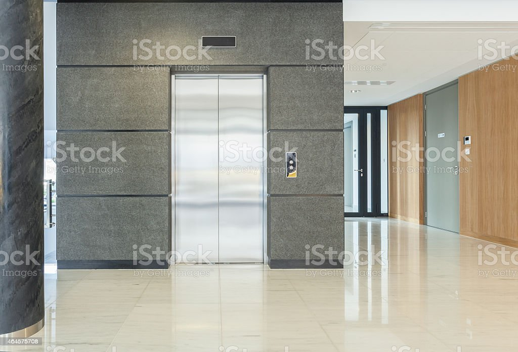 Empty hall of business building stock photo