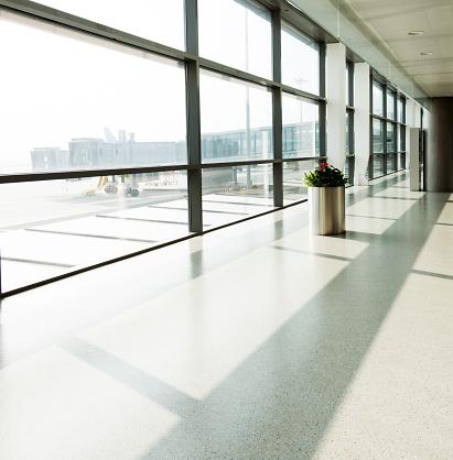 Empty hallway in nanjing airport terminal, China.