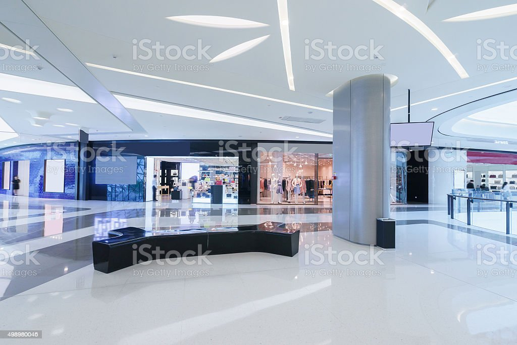 empty hallway with billboard and abstract ceiling in mode stock photo