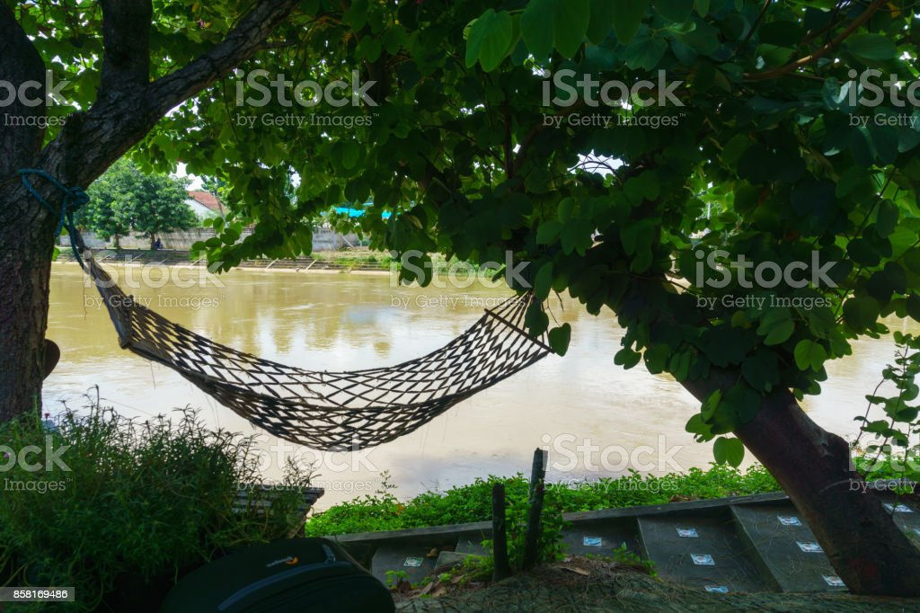Empty Hammock Hanging Between Tree Near The River Stock Photo More