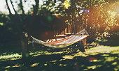 木の庭で空のハンモック