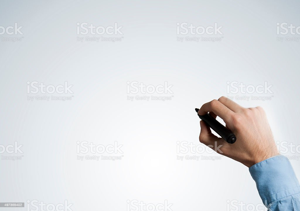 Empty hand with felt tip pen (Click for more) stock photo