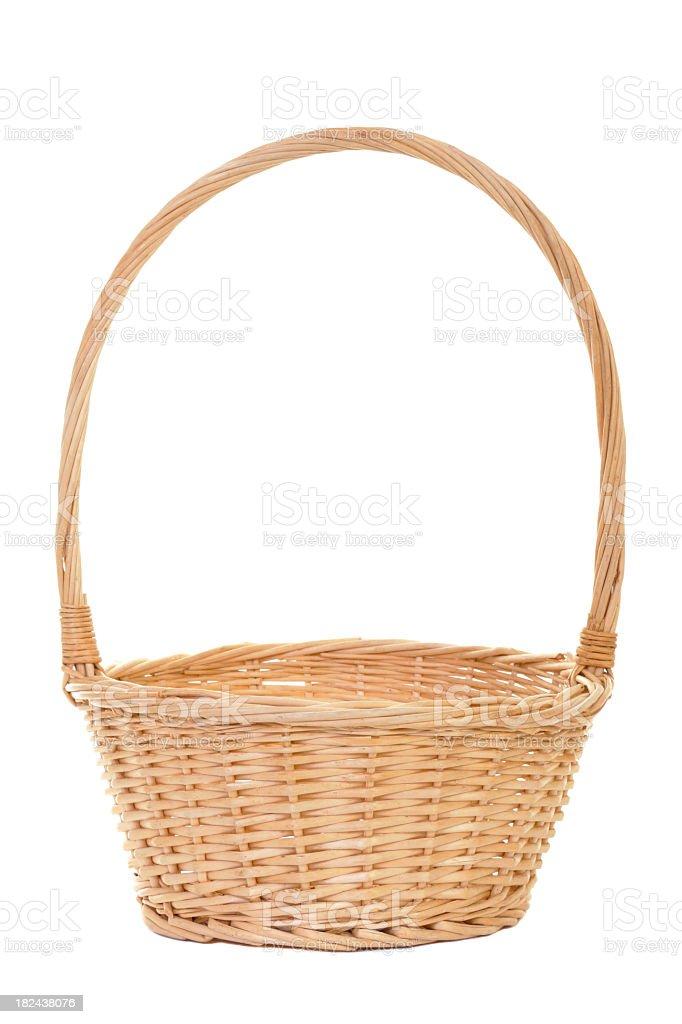 Empty handmade wicker basket on white background stock photo