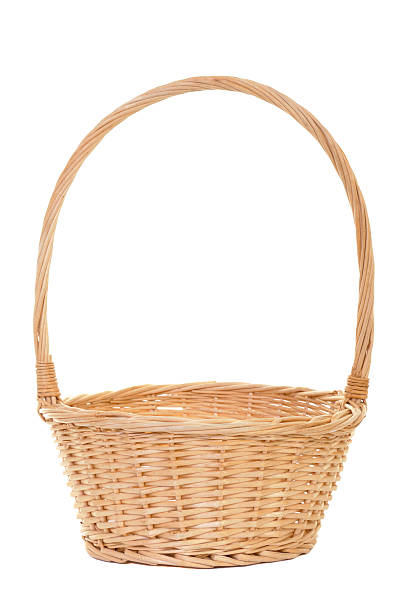 Empty handmade wicker basket on white background stock photo
