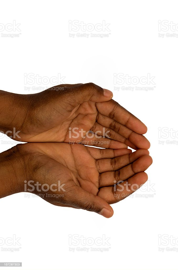 empty hands of a black child isolated on white royalty-free stock photo