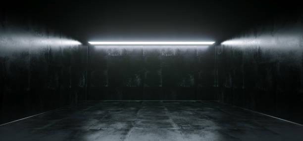 Vazio alta detalhada concreto Grunge procurando quarto com faixas claras e renderização Reflections.3D - foto de acervo