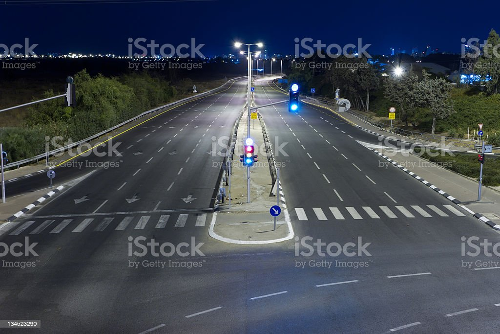 Empty highway at night. stock photo