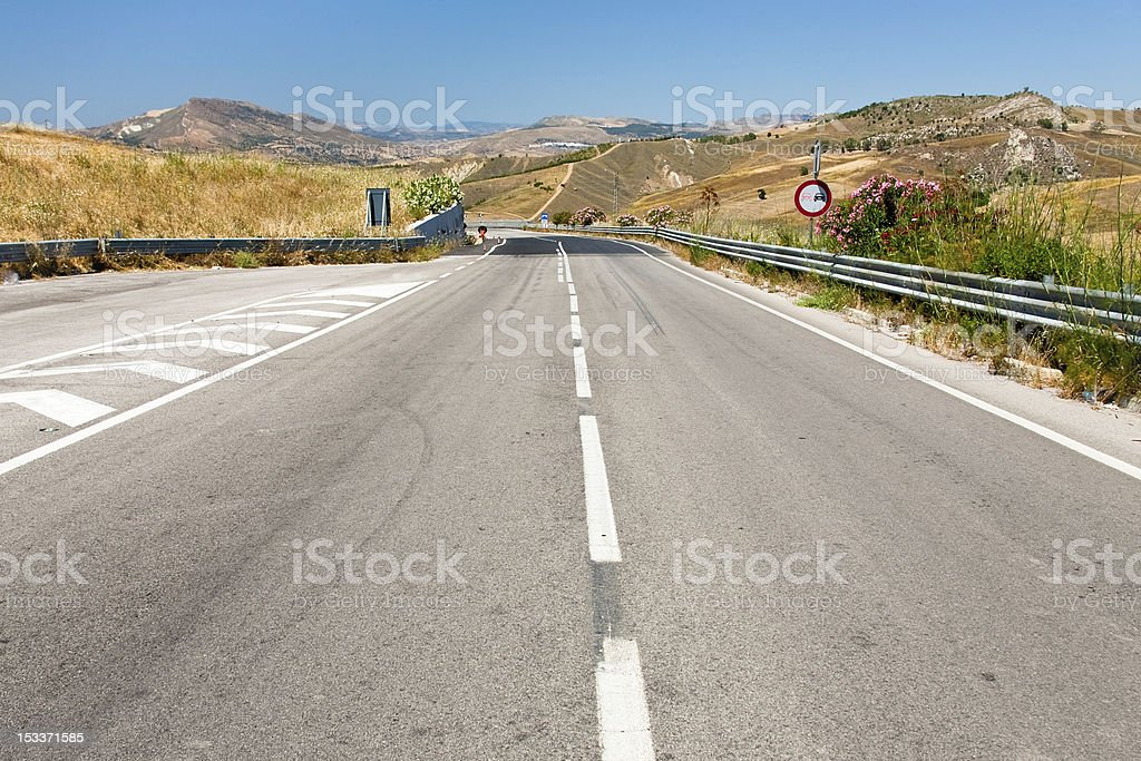 empty highway in summer day stock photo