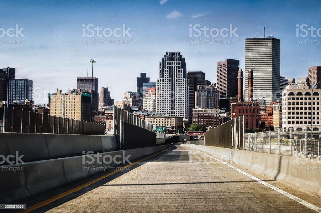Empty Highway Into Boston stock photo
