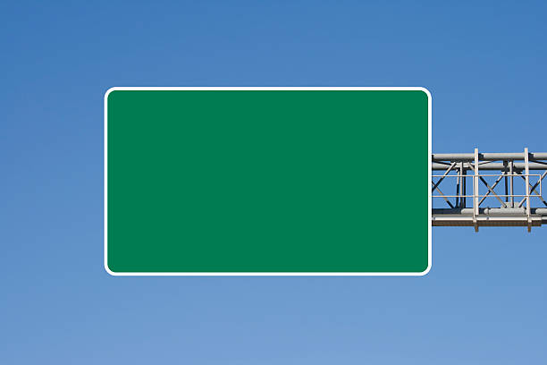 empty highway sign - exit sign stock photos and pictures