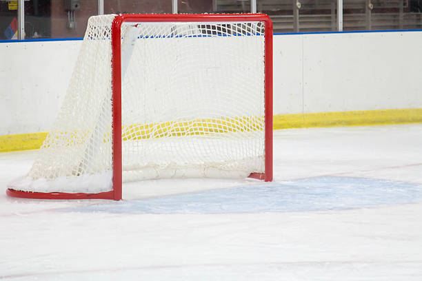 Empty hockey net at a small town ice arena