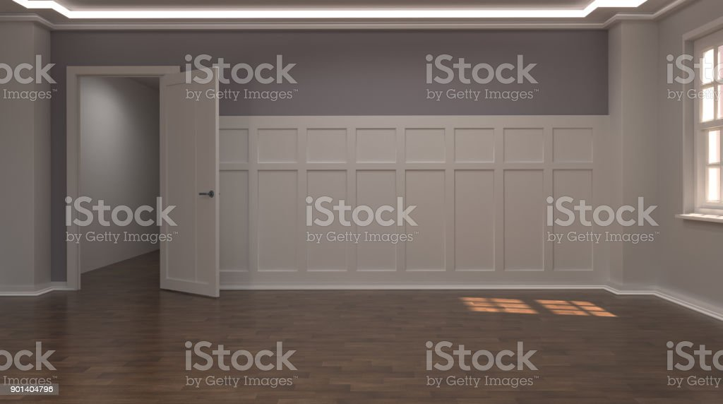 Leeres Haus Mit Offenen Tür 3d Rendering Moderne Mitte Jahrhundert Innen  Und Hölzernen Stock Vintage Zimmer