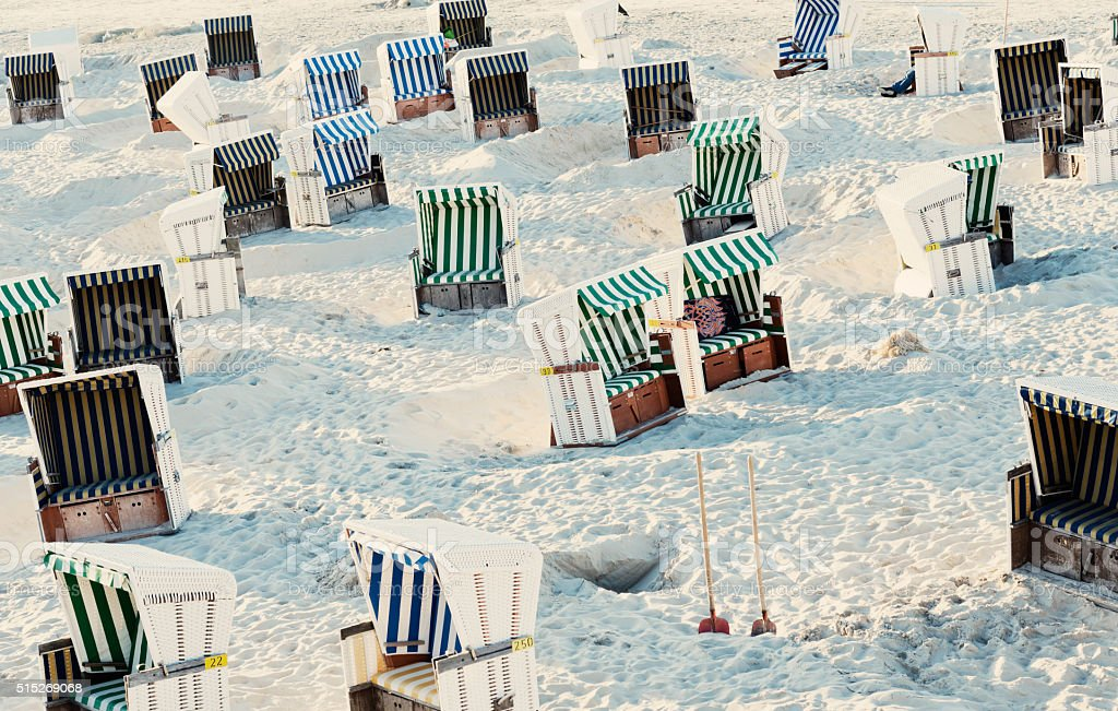 Empty Hooded Beach Chairs On Baltic Sea stock photo