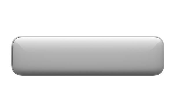 empty horizontal 3d push button icon white on white background - button stock photos and pictures
