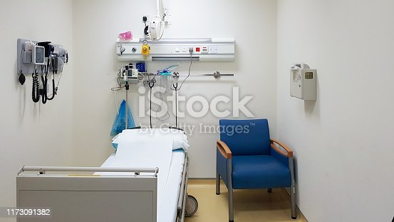 istock Empty hospital room with one bed, one chair and medical instruments on the wall. Health care concept. 1173091382
