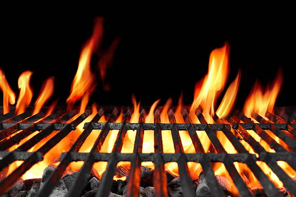 empty hot flaming charcoal barbecue grill - barbecue grill stock photos and pictures