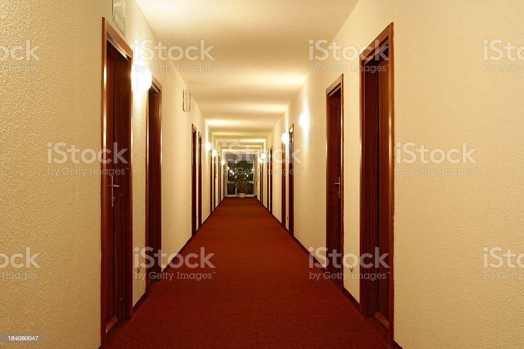 Empty hotel hallway royalty-free stock photo