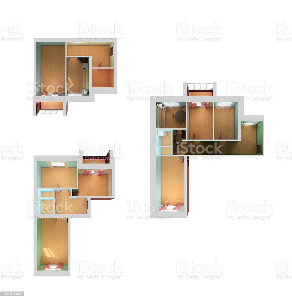 Painters Mill Apartments: Empty House Floor Plan 3d Top View Stock Photo & More