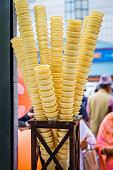 Empty Stacked Ice Cream Cones, Ice Cream Cones kept for display