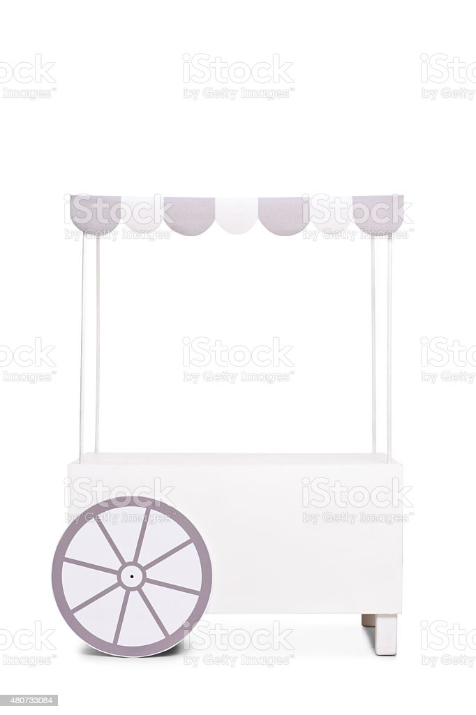 Empty ice cream stand with a white and gray canopy stock photo