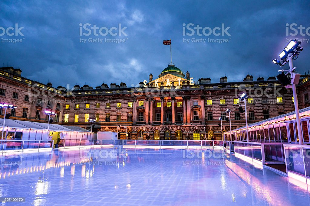 Empty ice skating rink, Somerset House, The Strand, London, UK stock photo