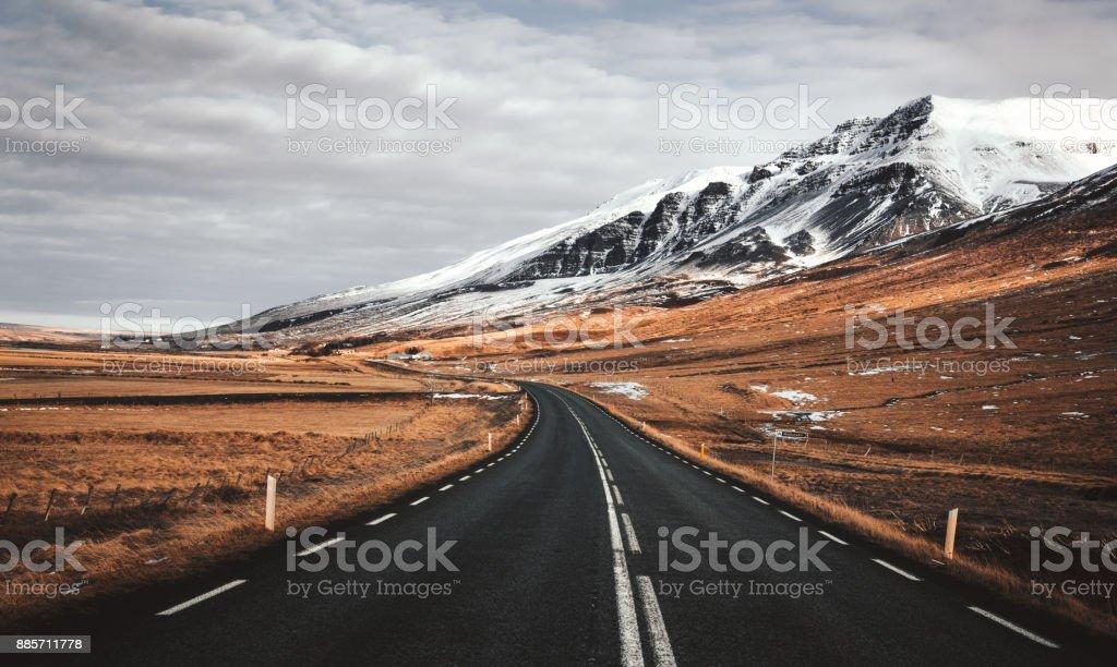 empty icelandic road stock photo
