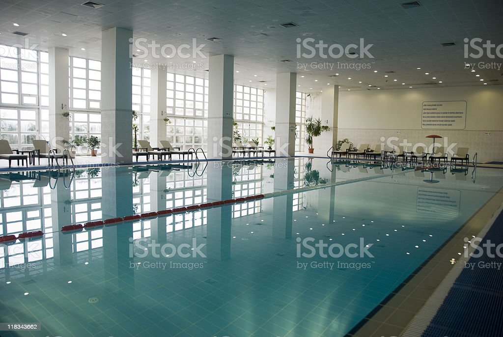 Empty indoor swimming pool, Turkey, Istanbul royalty-free stock photo