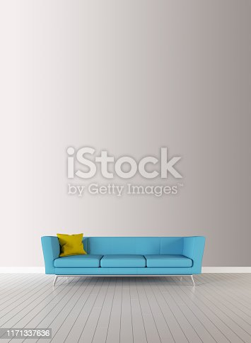 istock Empty interior background, room with white wall. Scandinavian style livingroom with gray fabric armchair. 3d rendering 1171337636
