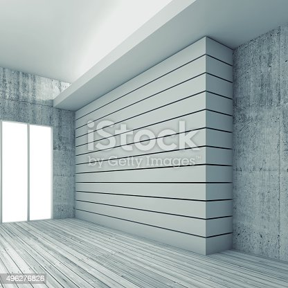 470934084 istock photo Empty interior background with wooden floor, 3d 496276826